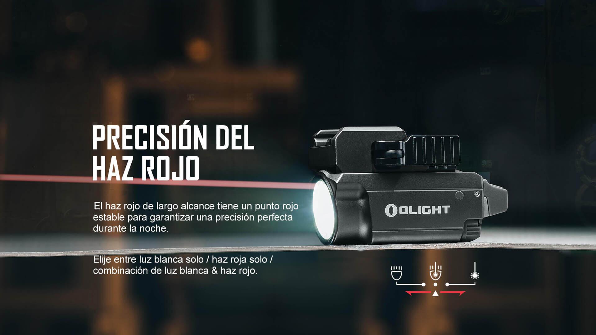 La linterna táctica Olight Baldr RL Mini cuenta con un haz rojo que aumenta la precisión durante la noche