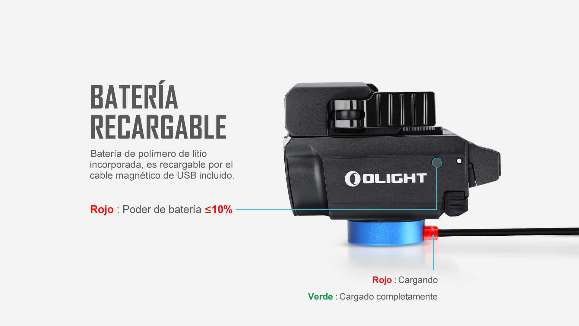 Con batería de litio recargable, la linterna táctica Baldr RL Mini es recargable por el cable magnética de USB incluido y puede saber el estado de cargar según el indicador