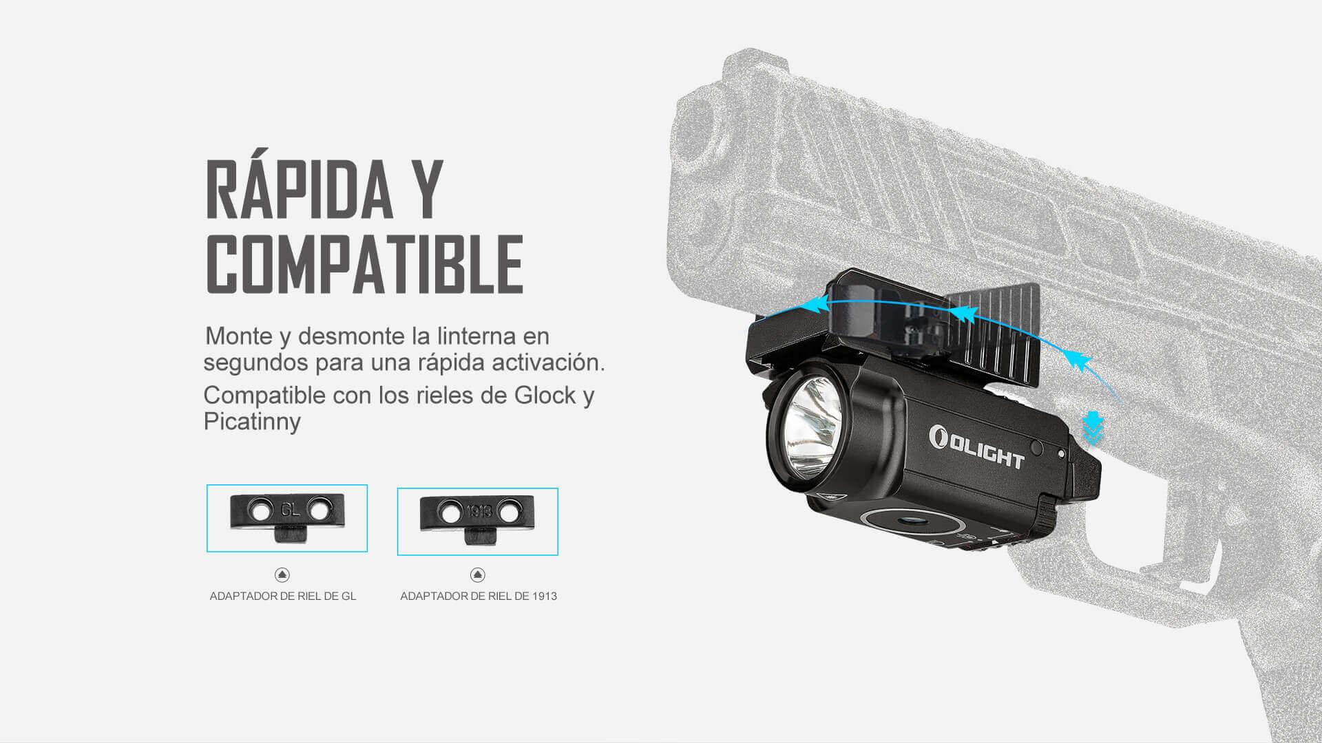 La Olight Baldr RL Mini es linterna para armas que es compatible con los rieles de Glock y Picatinny